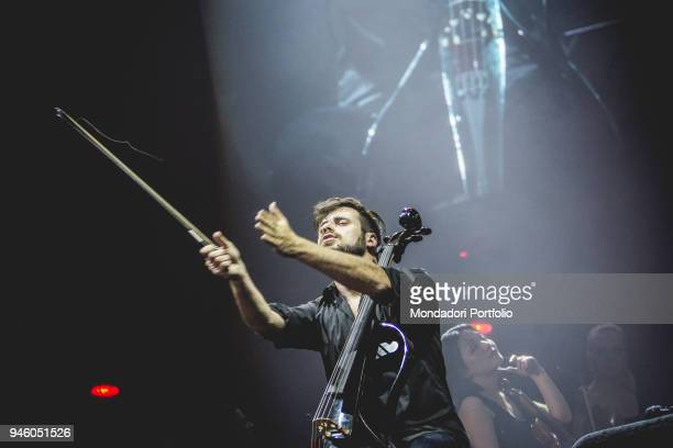 Stjepan Hauser of the Cellists duo 2Cellos in concert at Mediolanum Forum in Assago Milan March 30 2017