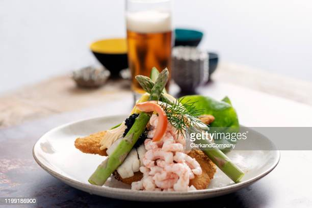 stjerneskud or shooting star classic danish food. - danish culture stock pictures, royalty-free photos & images