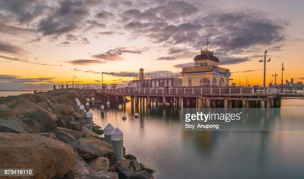 St.Kilda pavilion at St.Kilda pier at sunset in Melbourne, Australia.