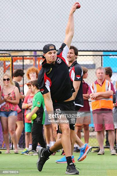 StKilda Saints AFL footballer Nick Riewoldt bowls in the nets during the Luke Batty Memorial T20 Match at Tyabb Football Netball Club on December 1...