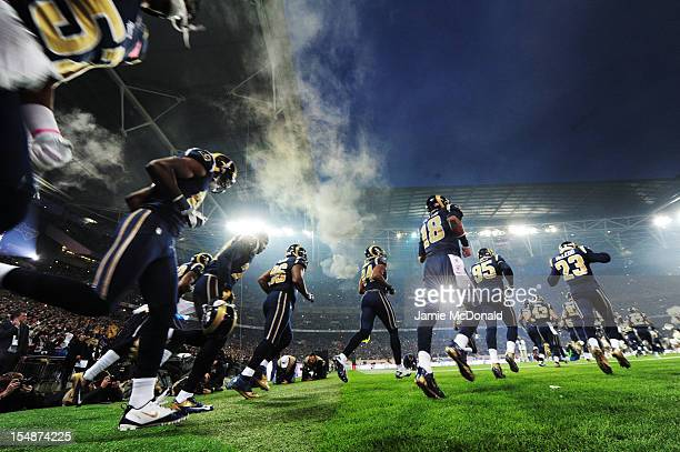 StLouis Rams run out on the field prior to the NFL International Series match between the New England Patriots and the StLouis Rams at Wembley...