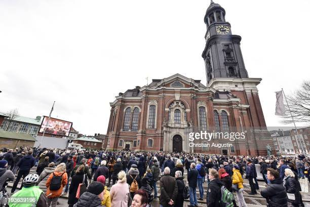StMichaelsChurch during the memorial service for Jan Fedder at Hamburger Michel on January 14 2020 in Hamburg Germany German actor Jan Fedder was...