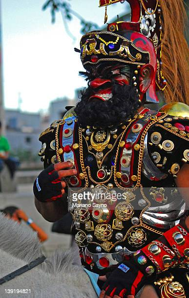 sto. niño festival masked participant - sinulog festival stock photos and pictures