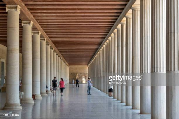 Stoa Attalus reconstructed old building in Athens, Greece