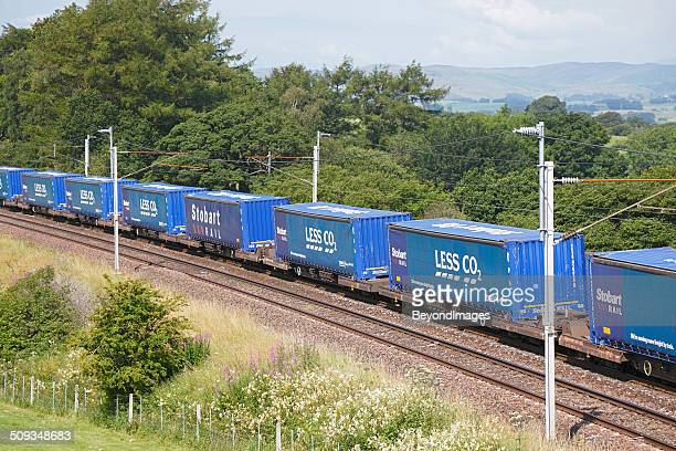 "stobart rail ""tesco express"", environmentally friendly transport - cargo train stock photos and pictures"