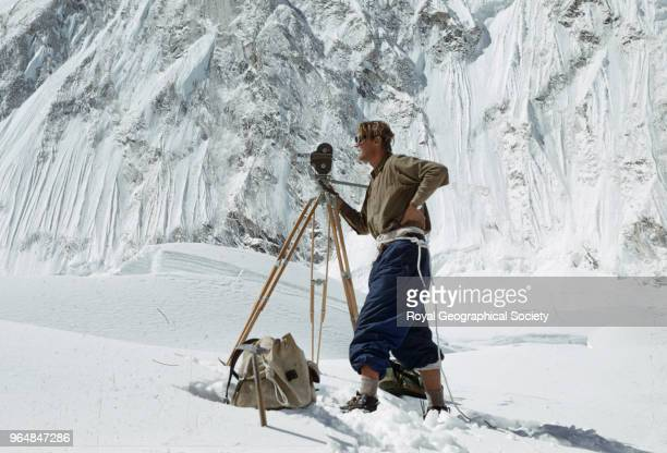 Stobart with cine camera in the Western Cwm Nepal March 1953 Mount Everest Expedition 1953