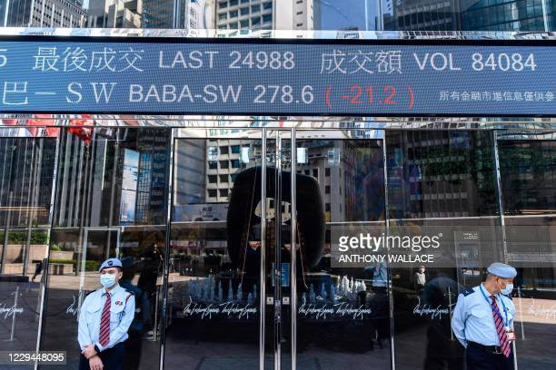 Stock activity of the Alibaba Group Holding Ltd is displayed above security guards as they stand outside the Exchange Square towers in Hong Kong on...