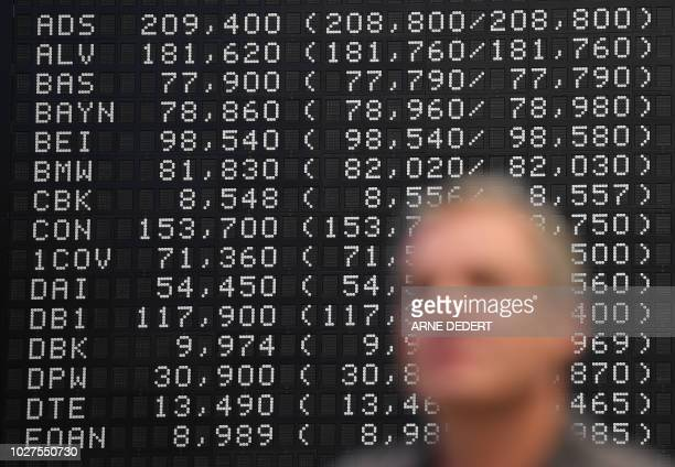 A stock broker stands in front of the display board of the Dax among which is seen the Commerzbank at the stock exchange in Frankfurt am Main western...