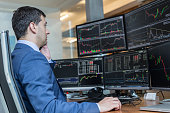 Stock broker trading online watching charts and data analyses on multiple computer screens.