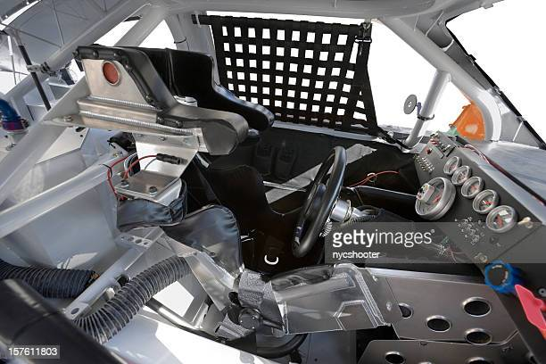 stock car cockpit safety cage - nascar dashboard stock photos and pictures