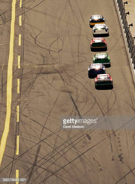 Stock car race, elevated view