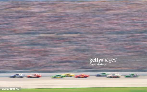 Stock car race (blurred motion)