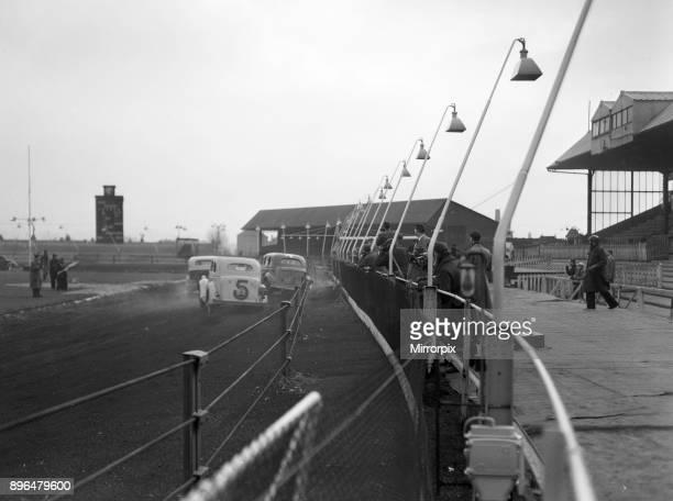 Stock Car Racing practice session New Cross Stadium Hornshay Street Old Kent Road London 17th March 1954
