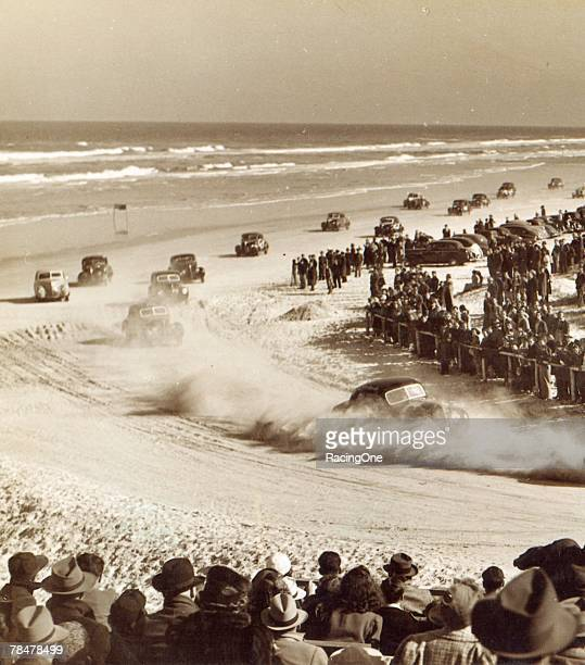 Stock car racing was gaining in popularity before World War II shut down nearly all forms of racing Here Bill France Sr leads the pack around the...
