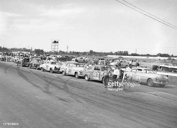 Stock cars are prepared for the start of a race at Toledo Speedway This was possibly an AAAsanctioned event