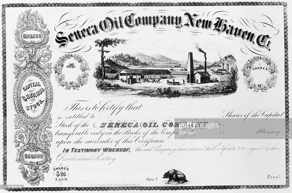 Stock certificate-- The Seneca oil Company came into being