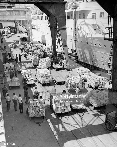 Stock dockside by ship in Marseille France 1955