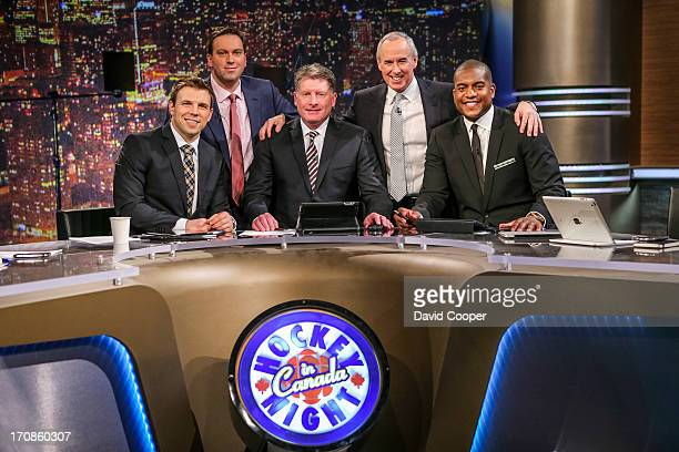 J Stock Elliotte Friedman Glenn Healy Ron MacLean and Kevin Weekes on set just before the rehearsal as CBC gives us a behindthescenes look at their...