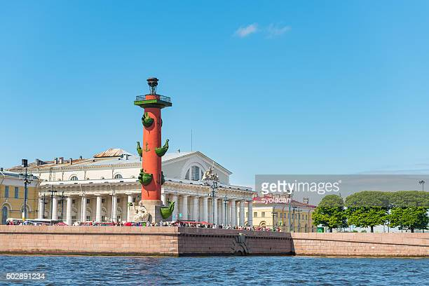 stock exchange and rostral columns, st. petersburg, russia - syolacan stock pictures, royalty-free photos & images