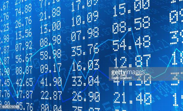 stock exchange graph and numbers - economy stock pictures, royalty-free photos & images