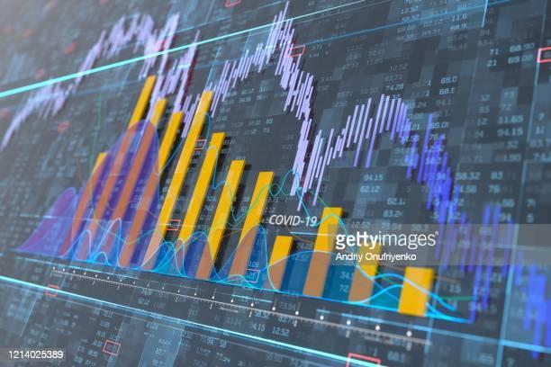 stock exchange graph - falência imagens e fotografias de stock
