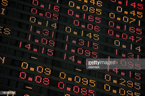 Stock Exchange screen showing financial figures