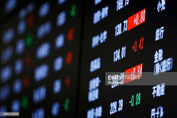 Stock figures are displayed on an electronic stock board at the Tokyo Stock Exchange in Tokyo Japan on Thursday Oct 17 2013 Japanese shares rose with...