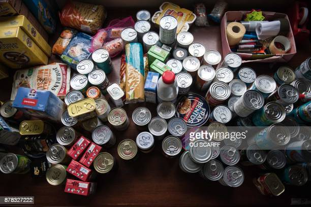 Stock for food parcels at the Meadows Foodbank in Bridgeway Hall Methodist Church which is provided by The Trussell Trust charity in Nottingham...