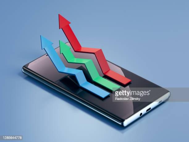stock graphs 3d illustration icon on smart phone - finanza ed economia foto e immagini stock
