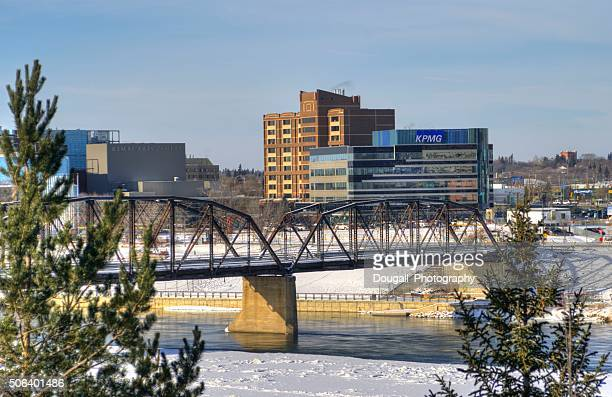 Stock Image of Saskatoon Traffic Bridge and Downtown Saskatoon