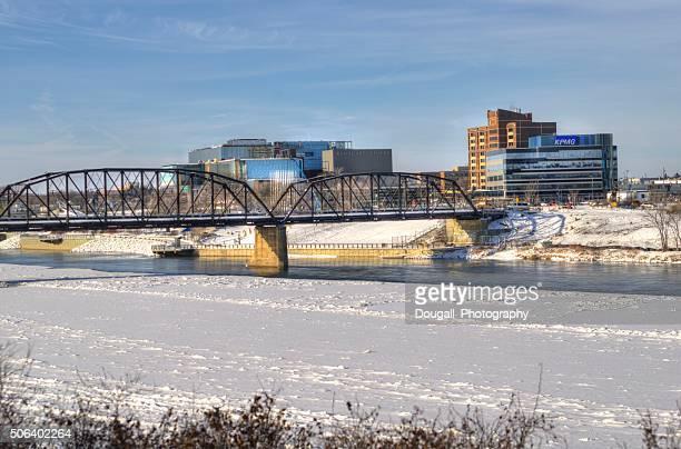 stock image of saskatoon traffic bridge and downtown saskatoon - saskatoon stock photos and pictures