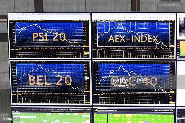 Stock index curves for Portugal the Netherlands Belgium and France are displayed on monitors inside the Paris stock exchange operated by Euronext NV...