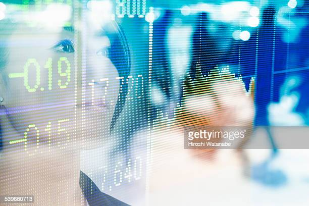 Stock index with business woman