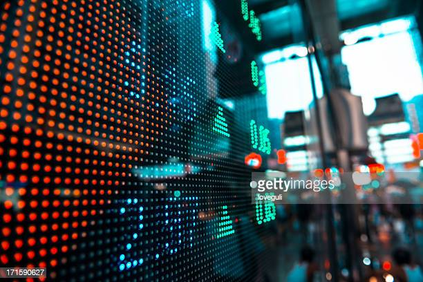 stock information on LED screen