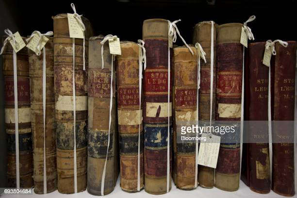 Stock ledgers from the 1800's sit on a shelf in the basement vault of the Bank of Montreal's head office in Old Montreal Quebec Canada on Friday May...