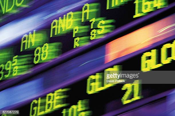 Stock listings at Morgan Stanley Building - Times Square, New York City