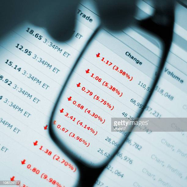 stock market crash - man watching prices fall - bear market stock pictures, royalty-free photos & images