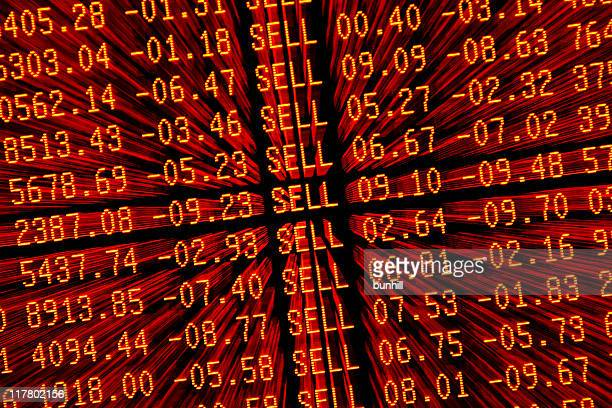 stock market crash sell—off - red trading screen zoom