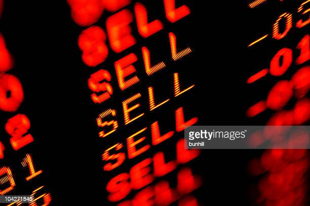 stock market crash sell-off - trading screen in red - crash stock pictures, royalty-free photos & images