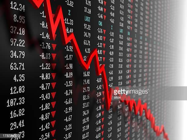 Dado de Bolsa de valores com downtrend vector