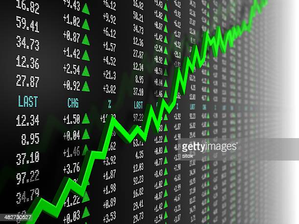 stock market data with uptrend vector - moving up stock pictures, royalty-free photos & images