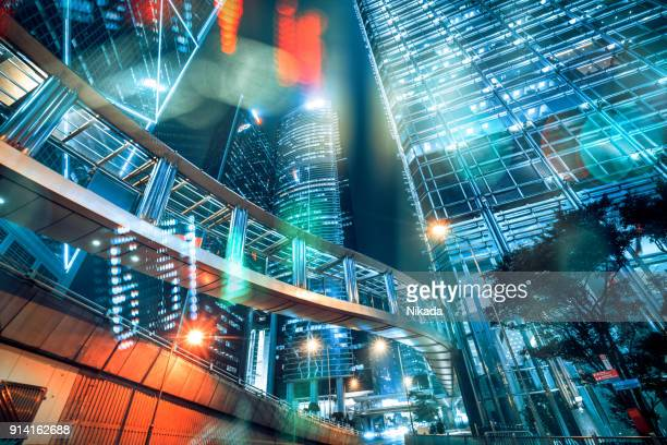 stock market exchange data on skyscraper in hong kong - tradeshow stock pictures, royalty-free photos & images