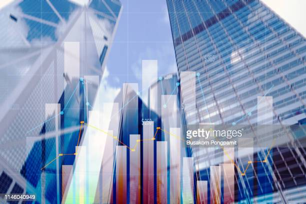 stock market graph with cityscape - big data center stock pictures, royalty-free photos & images