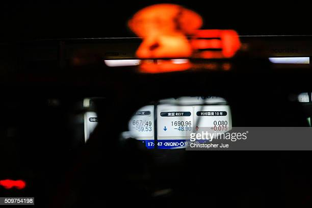 A stock market indicator board is seen through a taxi window on February 12 2016 in Tokyo Japan The Nikkei Stock Average finished 11% down for the...