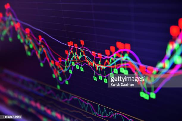 stock market on screen - science and technology stock pictures, royalty-free photos & images