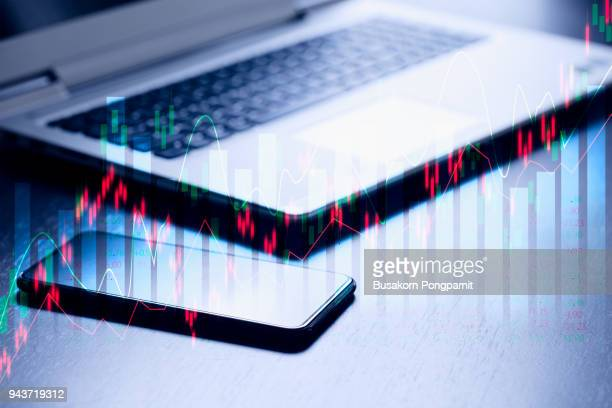 Stock market or forex trading graph and candlestick chart suitable for financial investment technology concept