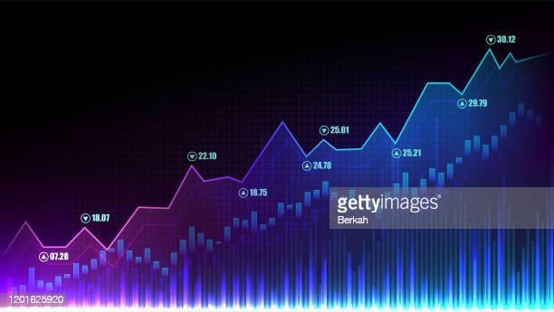 stock market or forex trading graph in graphic concept - wirtschaftszahlen stock-fotos und bilder