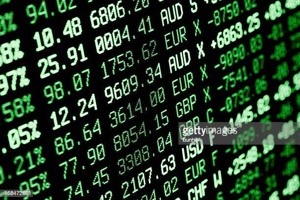 stock market screen numbers - finance + currency data