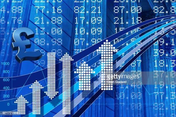 uk stock market statistics - pound symbol stock photos and pictures