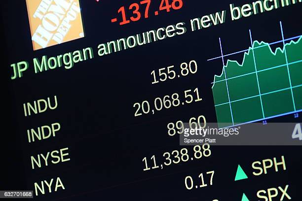 A stock monitor shows the closeing numbers on the floor of the New York Stock Exchange as the Dow Jones industrial average closed above the 20000...